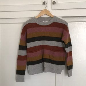 Madewell Striped Double Pocket Sweater